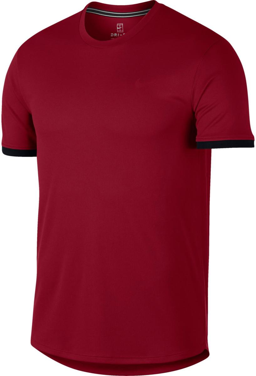 a11c7fc0 Теннисная футболка NIKE M NKCT DRY TOP SS CLRBLK Team Crimson / Black 2019